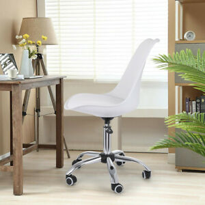 White Armless Office Conference Chair Mid Back Leather Adjustable Height White
