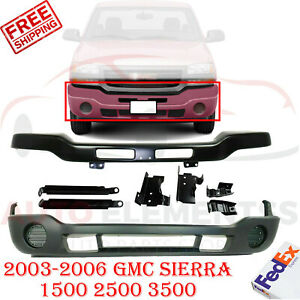 Front Bumper Primed With Brackets Valance For 03 06 Gmc Sierra 1500 2500 3500