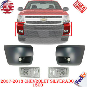 Front Bumper End Caps Primed Fog Lights For 2007 2013 Chevrolet Silverado 1500