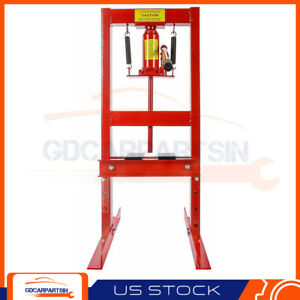 6 Ton Shop Press Hydraulic Bottle Jack Benchtop H Frame Plates Jack Stand Tools