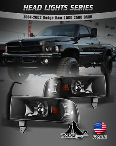 For 94 01 Dodge Ram 1500 2500 3500 Headlights Replacement Assembly Front Lamps