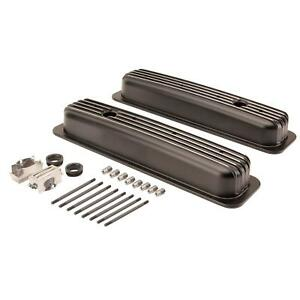 Center Bolt Sb Chevy Short Retro Finned Black Aluminum Valve Cover 87 95 350