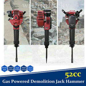 52cc Gas Powered Demolition Jack Hammer Concrete Breaker Stone Crusher 2 Chisel