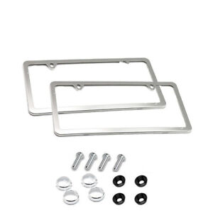 Pair Stainless Steel License Plate Frame Car License Plate Frame 2 Holes Silver