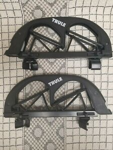 Thule 585 Angled Ski Carrier Clamp Ons 2pr 14 Skiing Racks No Locks