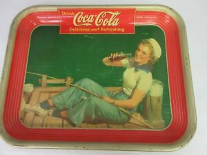 AUTHENTIC COKE COCA COLA 1940  ADVERTISING SERVING  TRAY  M-37