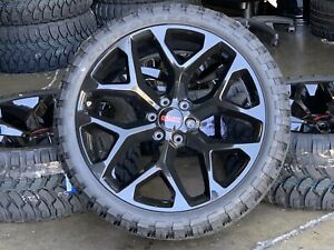 24 Gmc Sierra Yukon New Black Wheels Chevy Tahoe Silverado Mt Tires Tpms Rims
