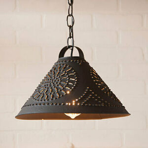 New Hitchcock Shade Hanging Light In Textured Black Tin