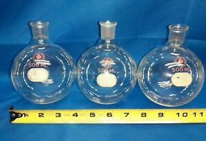 Lot Of 3 500 Ml Ace Glass Boiling Flask Vintage Lab Equipment Bunsen Burner