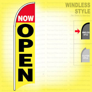 Now Open Windless Swooper Flag 2 5x11 5 Ft Feather Banner Sign Yb