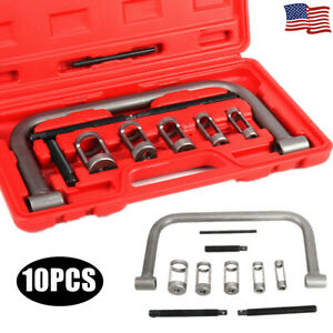 10pcs Cylinder Head Valve Oil Seal Removal Spring Compressor C Clamp Tool W Box