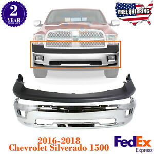 Front Bumper Chrome Steel Upper Cover Textured For 2009 2012 Dodge Ram 1500