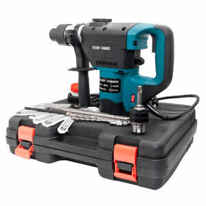 Electric Rotary Hammer Drill Sds Concrete Chisel Kit W Bits Case Blue Us He