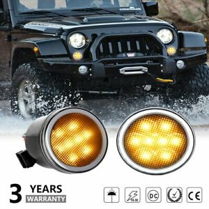 Pair Led Turn Signal Light Assembly Smoke Lens For 2007 2018 Jeep Wrangler Jk