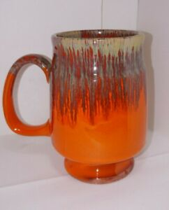 1968 Pacific Stoneware Footed Mug Vibrant Orange Variation of Greens