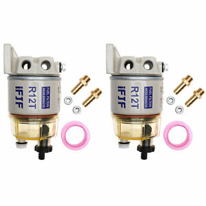 2pcs Fuel Filter Water Separator 120at For Racor R12t Marine Spin on