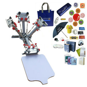 4 Color 1 Station T shirt Screen Printing Press Printer With Micro Registration