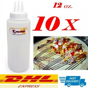 10 X 12oz 3 Hole Top Plastic Squeeze Bottle Sauce Mustard Ketchup Mayonnaise Dhl