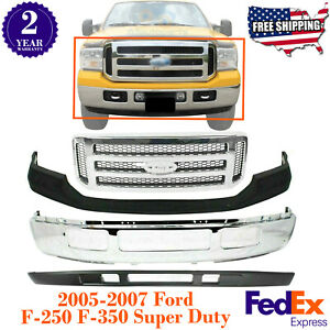 Front Bumper Chrome Steel Grille Covers For 2005 2007 Ford F 250 350 450 550