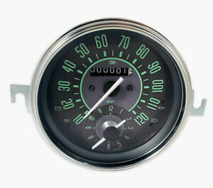 Vw Bug Bus Ghia Isp 120 Mph Odometer Speedometer With Clock Green Numerical Face