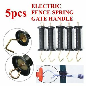 Lot Of 5 Pcs Heavy Duty Electric Fence Spring Gate Handles Extra Large Black