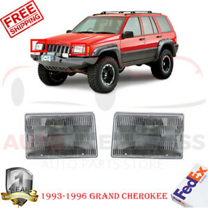 Set Of 2 Front Head Light Assembly Halogen For 1993 1996 Jeep Grand Cherokee
