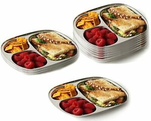 Stainless Steel 3 Compartment Tray thali Plate 6 Pcs Set square Round