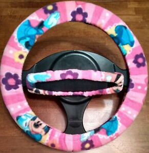 Minnie Mouse flowers Fleece Steering Wheel Rearview Mirror Cover Set