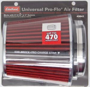 Edelbrock Pro flo Air Filter Cone 6 70 Tall Red chrome 43641