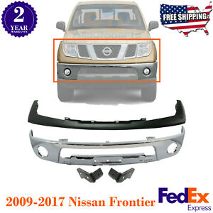 Front Bumper Chrome Steel With Bracket Cover Primed For 09 17 Nissan Frontier