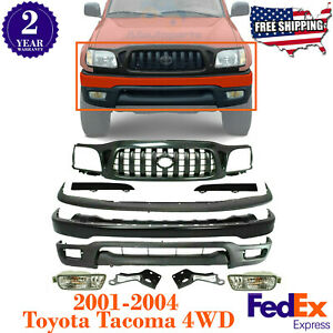 Front Bumper Primed Grille Covers Brackets For 2001 2004 Toyota Tacoma 4wd