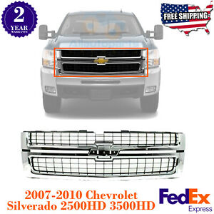 Front Grille Chrome Shell For 2007 2010 Chevrolet Silverado 2500hd 3500hd