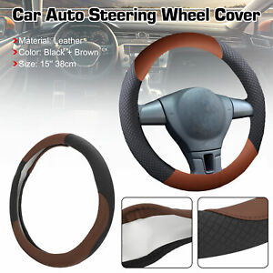 15 Car Steering Wheel Cover Black Brown Leather Pu Universal Fit Protection