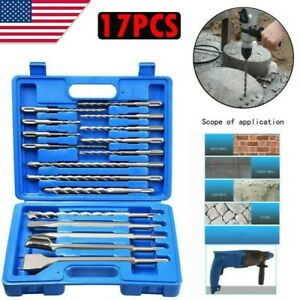17pcs Sds Plus Rotary Hammer Drill Chisel Concrete Masonry Percussion Drill Set