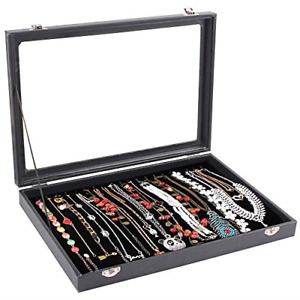 Wuligirl 20 Hooks Necklace Tray Storage Box Jewelry Display Stackable Glass Top