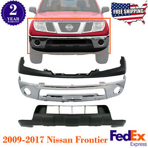 Front Bumper Chrome Upper Cover Valance Primed For 2009 2017 Nissan Frontier