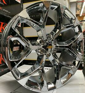 24 Chevy Silverado Tahoe Snowflake Chrome Wheels Tires Gmc Yukon Sierra Rims