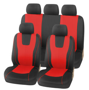 9pcs Red Seat Cover Polyester Fabric Protect Seat Covers Fit For 5 seats Car Suv
