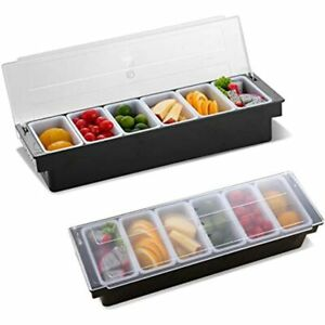 Condiment Caddy With Lid Dispenser Tray Bar Fruit Plastic Garnish Station For 6