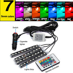 4pcs Rgb 7 Colors Motorcycle Atv 36 Led Neon Under Glow Accent Light Strip Kit
