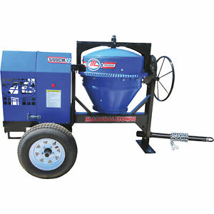 Marshalltown Mix5940 1 5hp Electric Concrete Mixer W poly Liner 6 Cu Ft cap