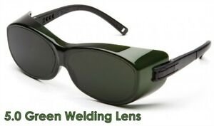 Pyramex Ots Safety Glasses With 5 0 Green Welding Lens Goes Over Rx Glasses