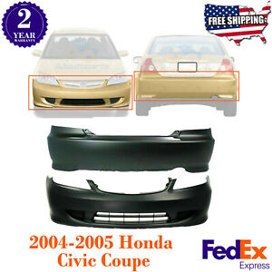 Front Rear Bumper Cover Primed Paintable For 2004 2005 Honda Civic Coupe