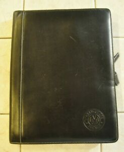 Levenger Black Leather Portfolio Folio Notepad Zip Organizer Planner 13 X 10