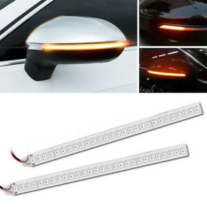 2x Car Rearview Mirror 28smd Led Strip Lamp Flowing Turn Signal Side Light New
