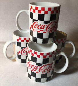 Vintage  Gibson Coca-Cola Mug Black  White  Red Checkered Coffee Cups (Set of 4)