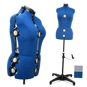 Blue 13 Dials Female Fabric Adjustable Mannequin Dress Form For Sewing Mannequi