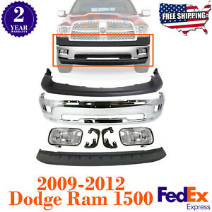 Front Bumper Chrome Steel Kit With Fog Lights For 2009 2012 Dodge Ram 1500