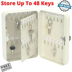 48 Hook Key Storage Cabinet Wall Mount Steel Box Safe Case Organizer With Number