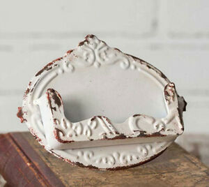 Distressed White Chippy Business Card Holder Shabby Chic Vintage Style